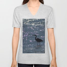 Egret Heron Silhouette Unisex V-Neck