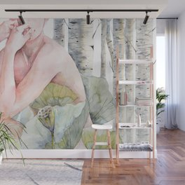 Savana in the birch forest Wall Mural