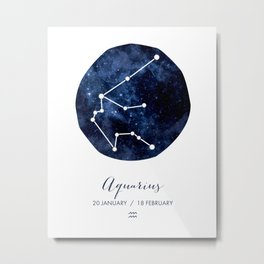 AQUARIUS Art Print, Horoscope Art Print, Aquarius Sign, Aquarius, Zodiac Art, Aquarius Symbol, Aquarius Dates, Horoscope Print, Aquarius Constellation, Aquarius Art Print, Zodiac, Zodiac Gift, Astrology, Astrologer's Gift Metal Print