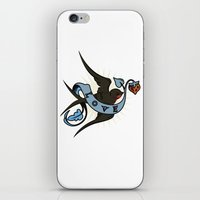 swallow iPhone & iPod Skins featuring Swallow by Eve Schultz / Butterbean Design Studio