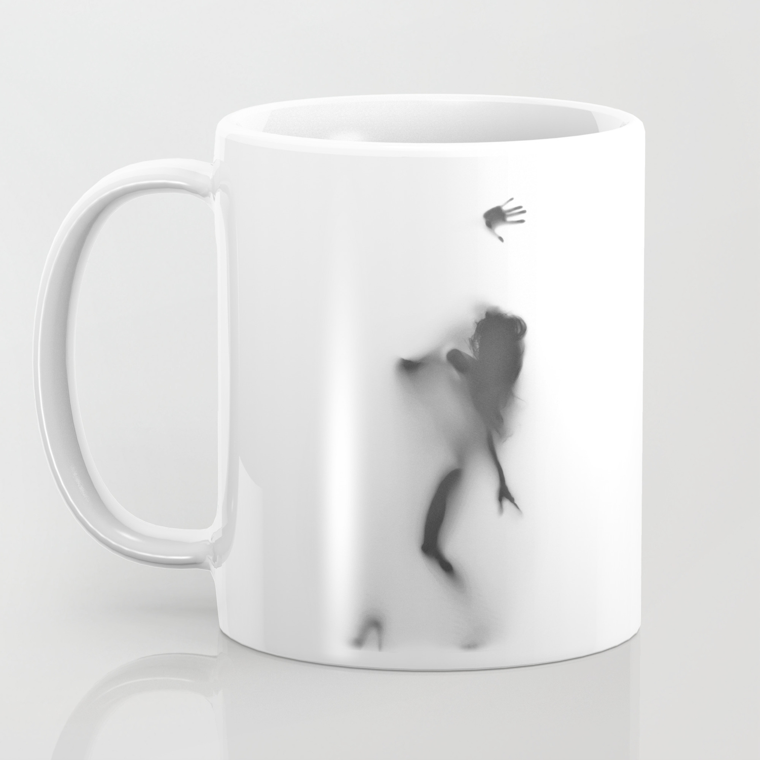 Naked woman silhouette showing boobs black and white coffee mug