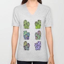 6 Striped Flowering Cacti Unisex V-Neck