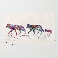 wolves Area & Throw Rugs featuring Wolves by Watercolorist