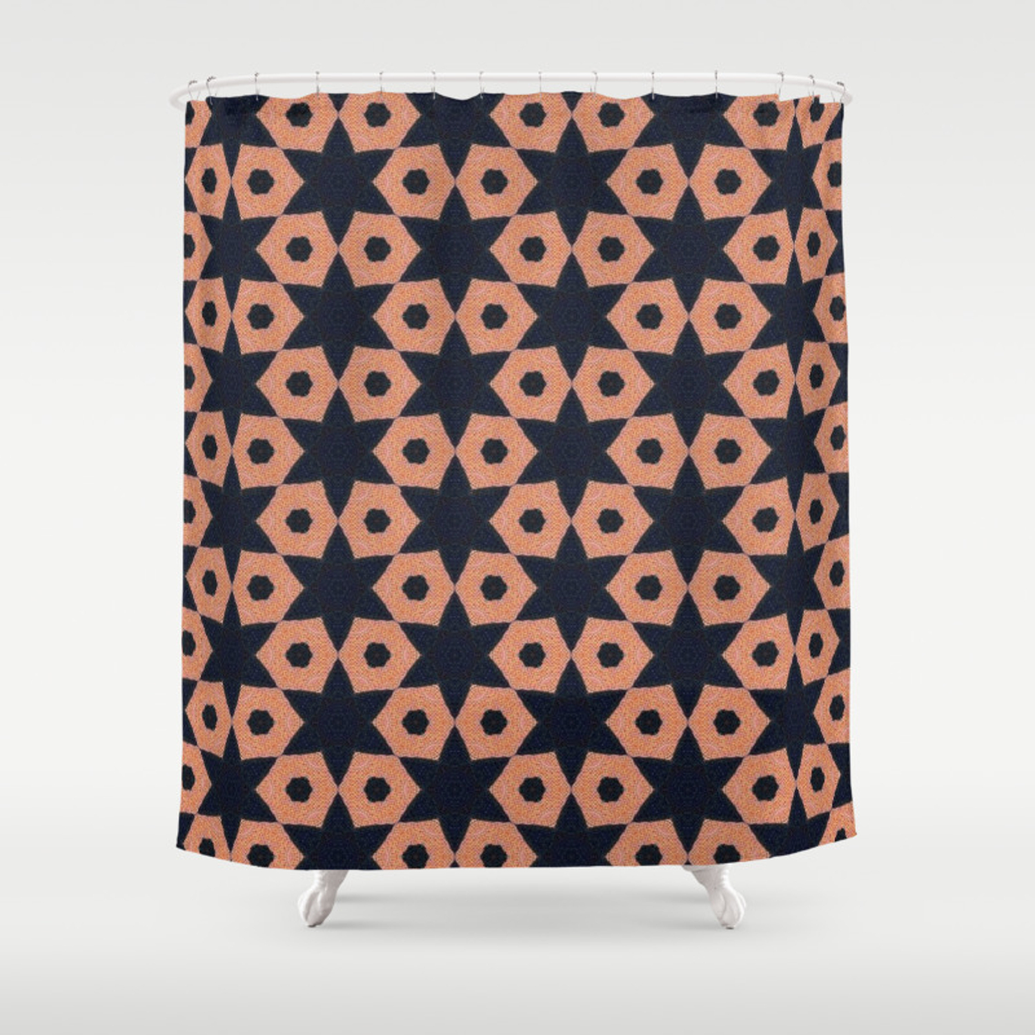 Corail And Black Fabric Shower Curtain