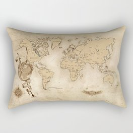 World Map (Here be Dragons!) Rectangular Pillow