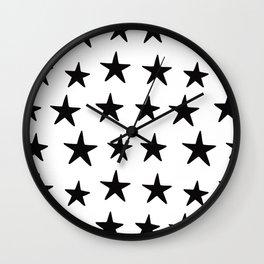 Star Pattern Black On White Wall Clock