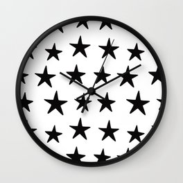 Star Pattern Black On White Wall Clock