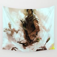 daryl Wall Tapestries featuring [ Daryl Dixon * Norman Reedus ] the walking dead by AkiMao