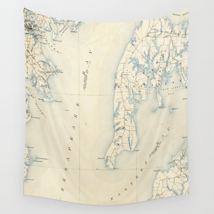 Vintage Annapolis MD & Chesapeake Bay Map (1902) Wall Tapestry