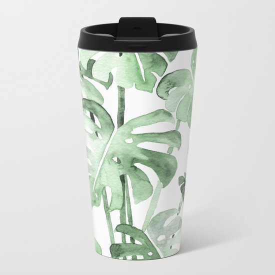 Delicate Monstera Green #society6 Metal Travel Mug