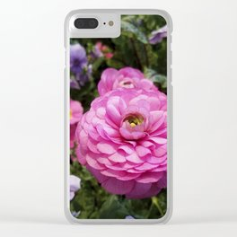 Spring Rosy Ranunculus And Primrose With Violet Violas Clear iPhone Case