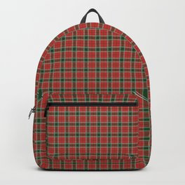 Christmas Red and Dark Green Tartan with Double White Lines Backpack
