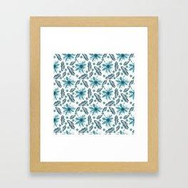 Teal blue wabi sabi floral print Framed Art Print
