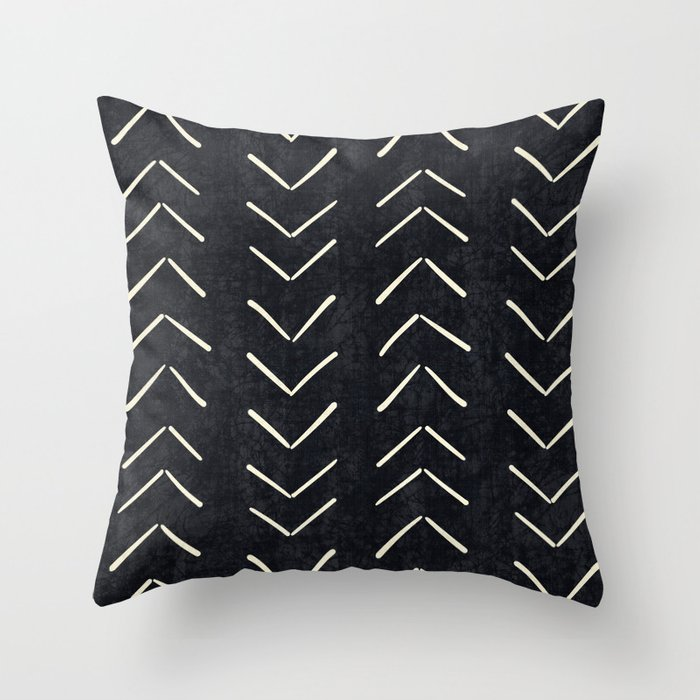 Contemporary Tribal Pattern Black and White Cushion
