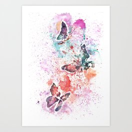 Butterflies Watercolor Painting Art Print