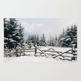 Gate and trees covered in heavy snow. Matterdale End, Cumbria, UK. Rug
