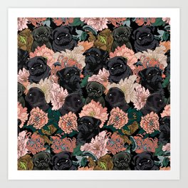 Because Black Pug Art Print