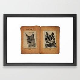 Cat vs. Owl Ear Tufts Framed Art Print