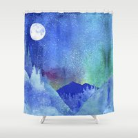 northern lights Shower Curtains featuring Northern Lights by Ricardo Moody
