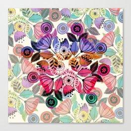 Pink and indigo flower pattern Canvas Print