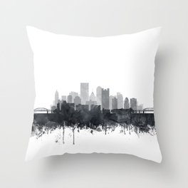 Pittsburgh Skyline Black & White Watercolor by Zouzounio Art Throw Pillow