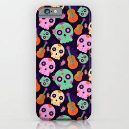 Cute Colorful Dios De Los Muertos Sugar Skulls and Guitars Pattern iPhone Case