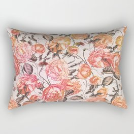 Vintage Floral Watercolor Pattern Rectangular Pillow