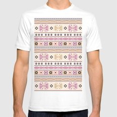 Abstract ethnic pattern on beige background with stripes. MEDIUM White Mens Fitted Tee