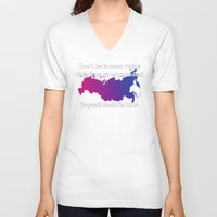 bisexual V-neck T-shirts featuring Boycott Sochi - Bisexual Flag Gradient by Boycott Sochi