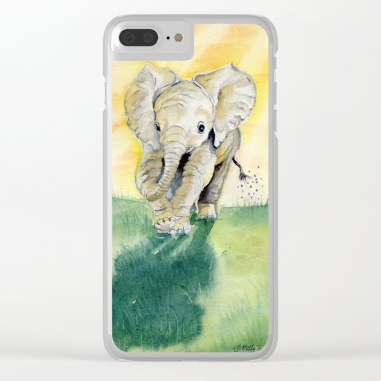 Colorful Baby Elephant Clear iPhone Case