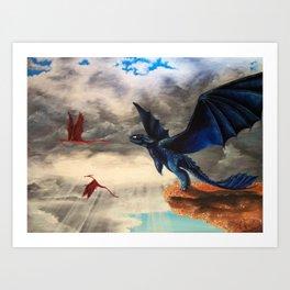 Toothless, Dragons, Flying Art Print