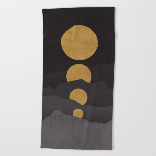 Rise of the golden moon Beach Towel