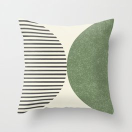 Semicircle Stripes - Green Throw Pillow