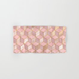 PINK CHAMPAGNE GRADIENT CUBE PATTERN (Gold Lined) Hand & Bath Towel