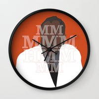 pushing daisies Wall Clocks featuring Pushing Daisies - Coroner by MacGuffin Designs
