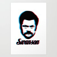 swanson Art Prints featuring Swanson by ThePencilClub