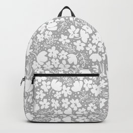 Love Blossoms Pattern Grey On White Backpack