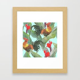 red fire roosters Framed Art Print