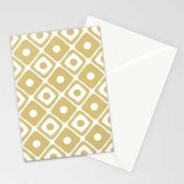 Mid Century Modern Diamond Dot Pattern 415 Gold Stationery Cards