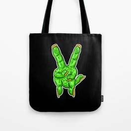 Zombie Cartoon Finger Hands -Peace Out Victory! Tote Bag