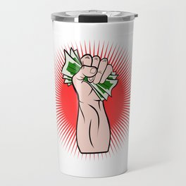 A Great Gift For Business Minded Persons With An Illustration Of A Hand With Money T-shirt Design Travel Mug