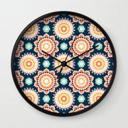 Indigo & Papaya Pattern 12 Wall Clock
