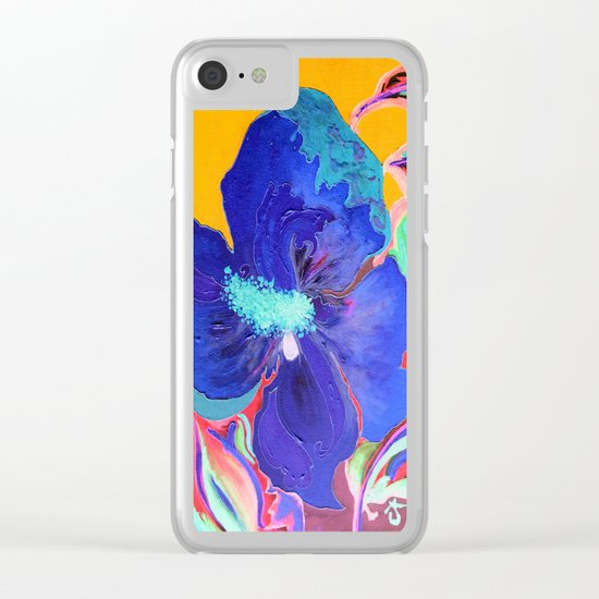 Birthday Acrylic Blue Orange Hibiscus Flower Painting with Red and Green Leaves Clear iPhone Case