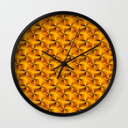 Intersecting bright gold rhombs and black triangles with volume. Wall Clock