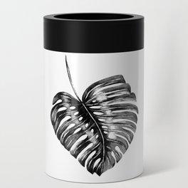 Monstera leaf black watercolor illustration Can Cooler