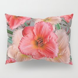 CORAL COLORED  PINK & CREAM DAYLILIES Pillow Sham