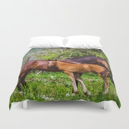 Mother horse with little foal Duvet Cover