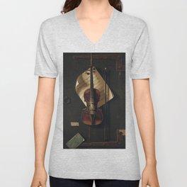 Still Life with Violin by William Harnett Unisex V-Neck
