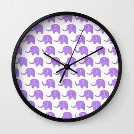 Purple Elephant Parade Wall Clock