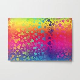 Hearts Rainbow Metal Print